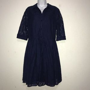 Gabby Skye Lace Navy Dress Button Front 14